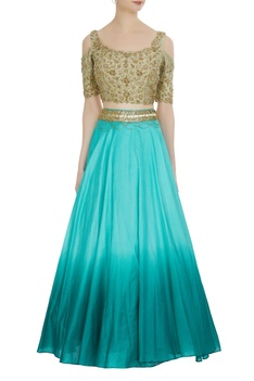 Pure silk ombre lehenga with cold-shoulder zardozi blouse
