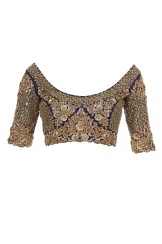Silk floral lehenga with zardozi blouse