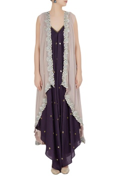 Floral embroidered front open cape