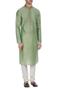 Block print cotton silk kurta