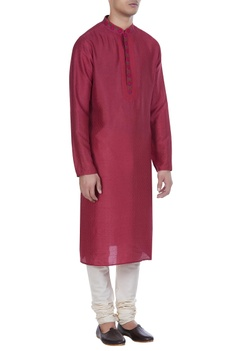 Block printed tussar silk kurta with churidar
