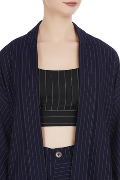 Striped front open jacket