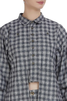Checkered hand embroidered shirt
