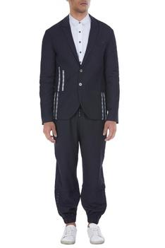 Broken stripe detailed blazer jacket