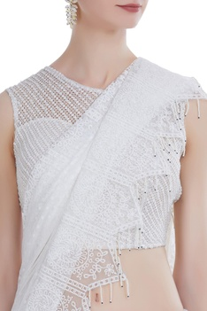 Net lace sari with blouse