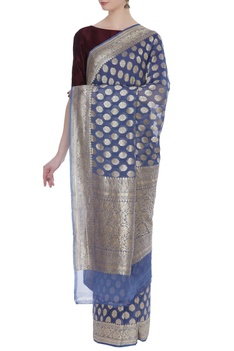 Handwoven mysore georgette sari
