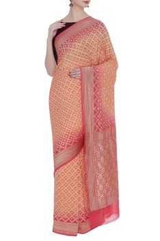 Hand-woven katan silk sari with unstitched blouse