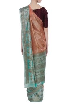 Hand-woven linen sari with unstitched blouse