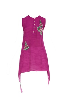 Asymmetrical tunic with floral patch work