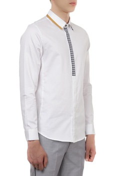 Tailored shirt with gingham placket