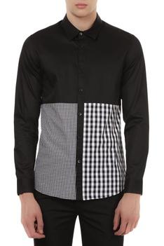 Cotton satin gingham detail shirt