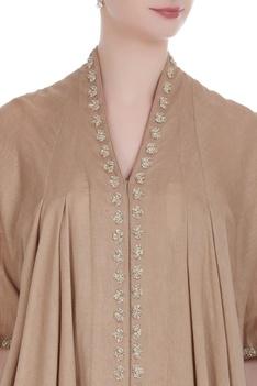 Earthy toned handloom chanderi asymmetric kurta