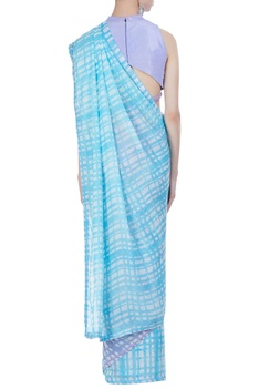 Hand painted check sari with unstitched blouse