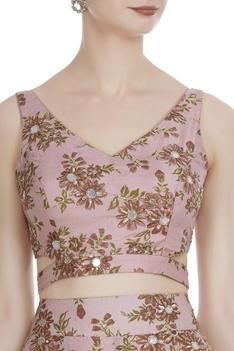 Floral crop blouse and lehenga set