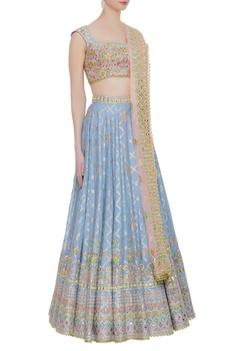 Banarasi silk embroidered lehenga set