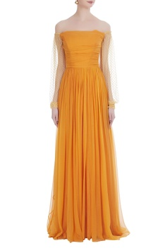 Floor length gown with polka lace sleeves