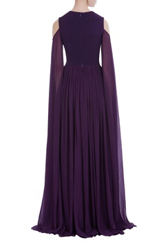 Flared sleeves floor length gown