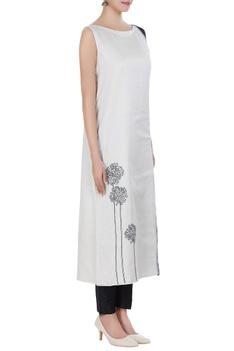 Chanderi floral embroidered long kurta