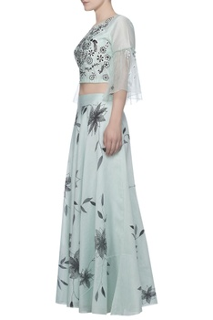 Printed lehenga with embroidered blouse