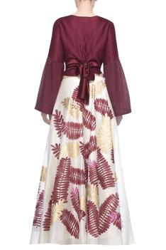 Satin-linen blouse with printed lehenga