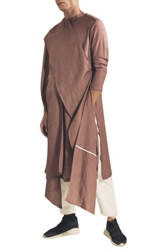 Draped kurta with asymmetric hemline