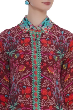 Floral printed crepe tunic