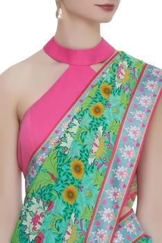 Crepe silk floral printed sari