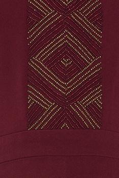 Scuba georgette bead embroidered cold-shoulder jumpsuit