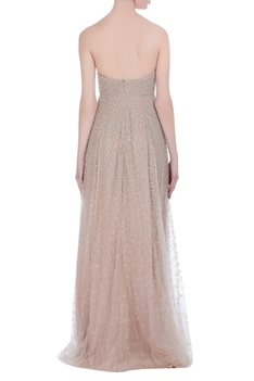 Tulle gown with silk lining and hand embroidery