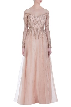 Tulle gown with silk lining and embroidery