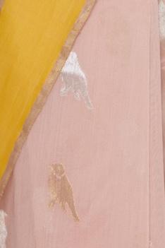 Woven chanderi bird motif sari with unstitched blouse