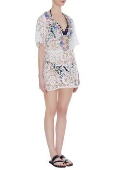 Embellished crochet cover up kaftan