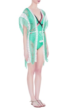Dual tone fringe lace cover up