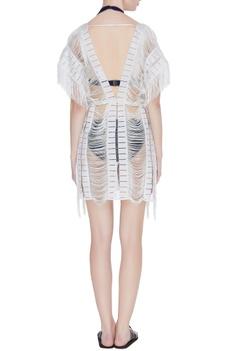 Fringe lace kaftan style cover up