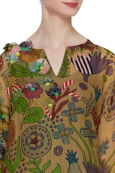 Hand embroidered floral tunic