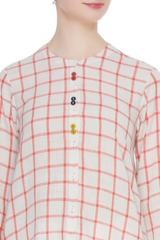 Checkered hand spun khadi tunic