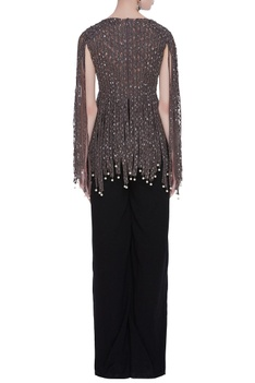Crepe silk & net handcrafted sequin tassel cape blouse & pants