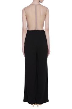 Net & crepe silk gota embroidered jumpsuit