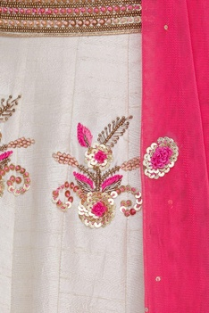 Raw silk zardozi & sequin embroidered lehenga set