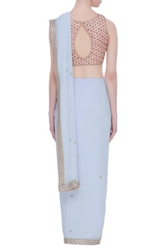Georgette pearl embroidered sari with blouse
