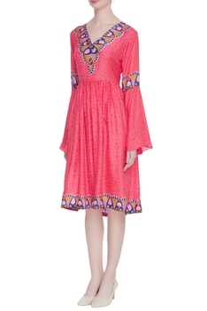Hand block printed midi dress