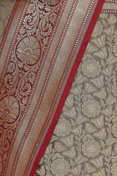 Zari work banarasi woven sari with unstitched blouse