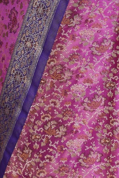 Dual shaded brocade resham embroidered sari with unstitched blouse