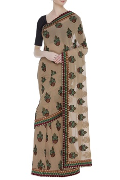 Pure georgette thread embroidered sari with unstitched blouse