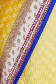 Dual shaded kota stonework embroidered sari & unstitched blouse