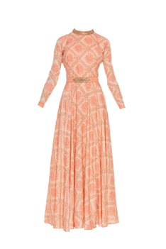 Floral printed & bead embroidered long anarkali