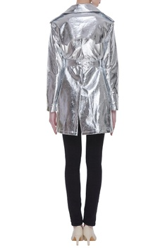 Metallic futuristic trench jacket