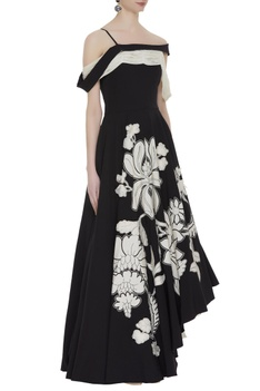 Dramatic dual color flared gown