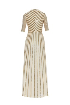 Sequin embellished wrap gown