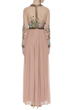 Hand embroidered floral sequins gown